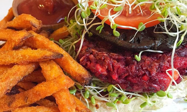 BBQ Beet Burgers + Sweet Potato Fries