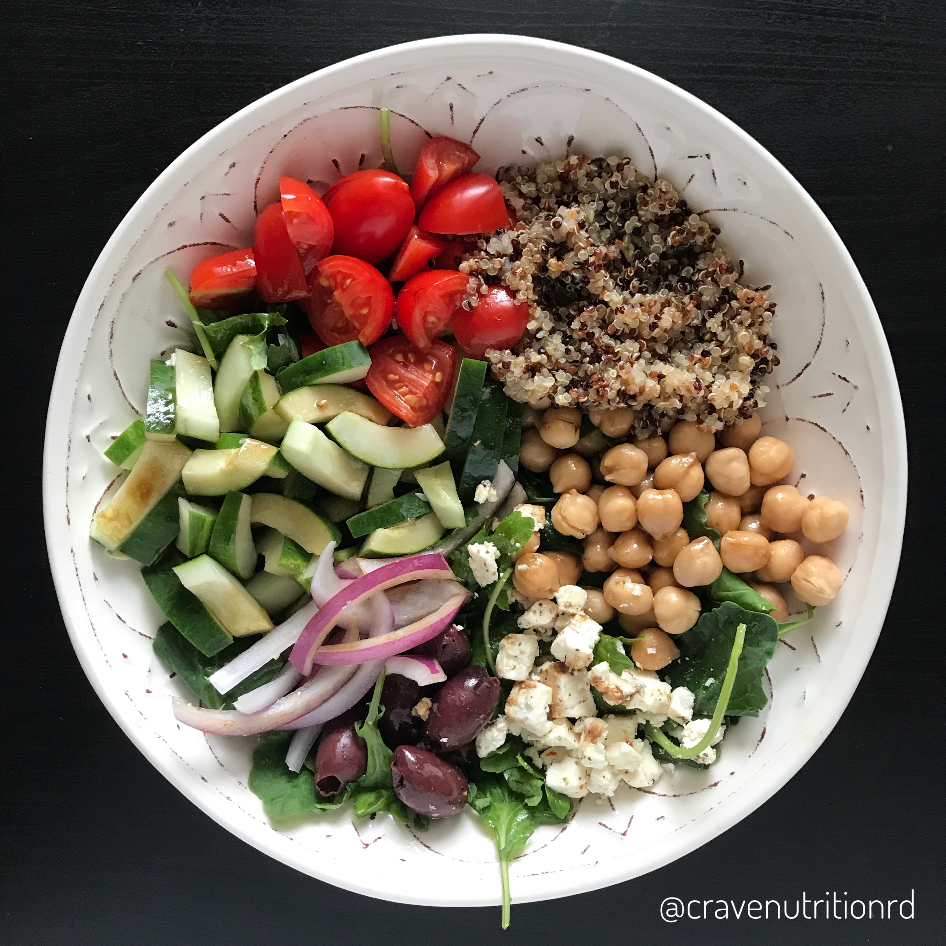 Greek Style Lemon Quinoa and Balsamic Chickpeas Power Bowl