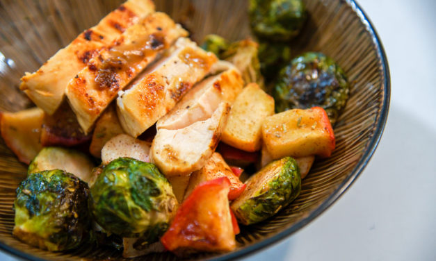 Mustard Maple Chicken with Roasted Brussel Sprouts & Apples