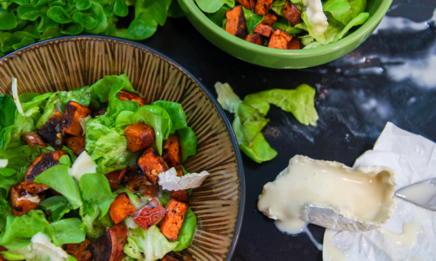 Spicy Sweet Potato Salad with Goat Cheese & Honey Lemon Vinaigrette