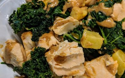 Roasted Salmon Bowls with Almond Butter Dressing