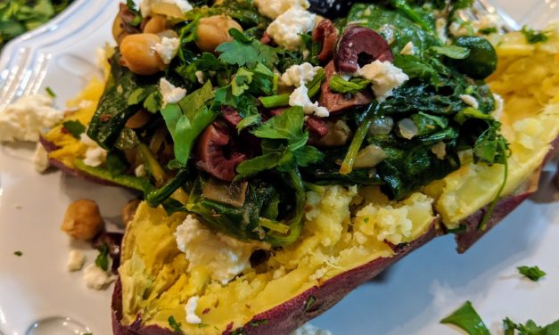 Spinach, Feta & Chickpea Stuffed Sweet Potatoes