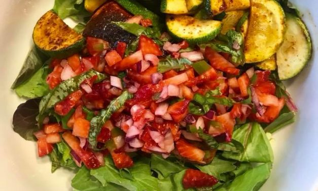 Spice Rubbed Salmon with Strawberry Basil Salsa