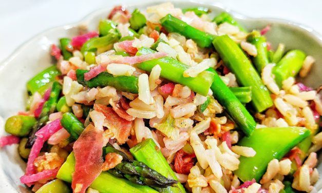 Pancetta & Kimchi Fried Rice with Asparagus, Mushrooms & Snap Peas