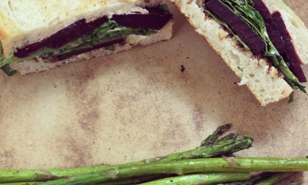 Beet, Arugula and Goat Cheese Grilled Sandwiches + Roasted Asparagus