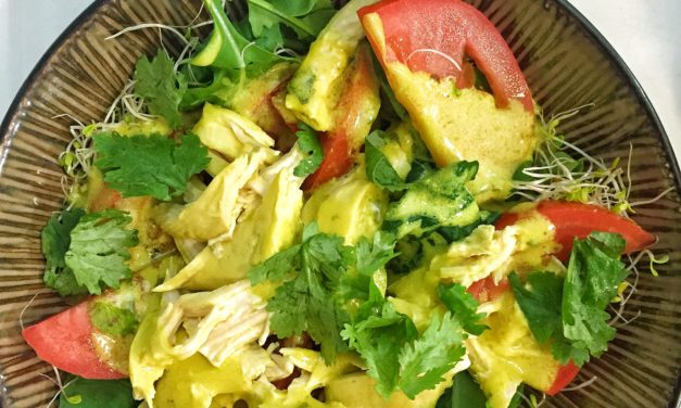 Warm Summer Salad with Coconut Milk-Poached Chicken & Turmeric Dressing