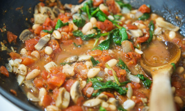 White Bean Veggie Stew with Frizzled Eggs
