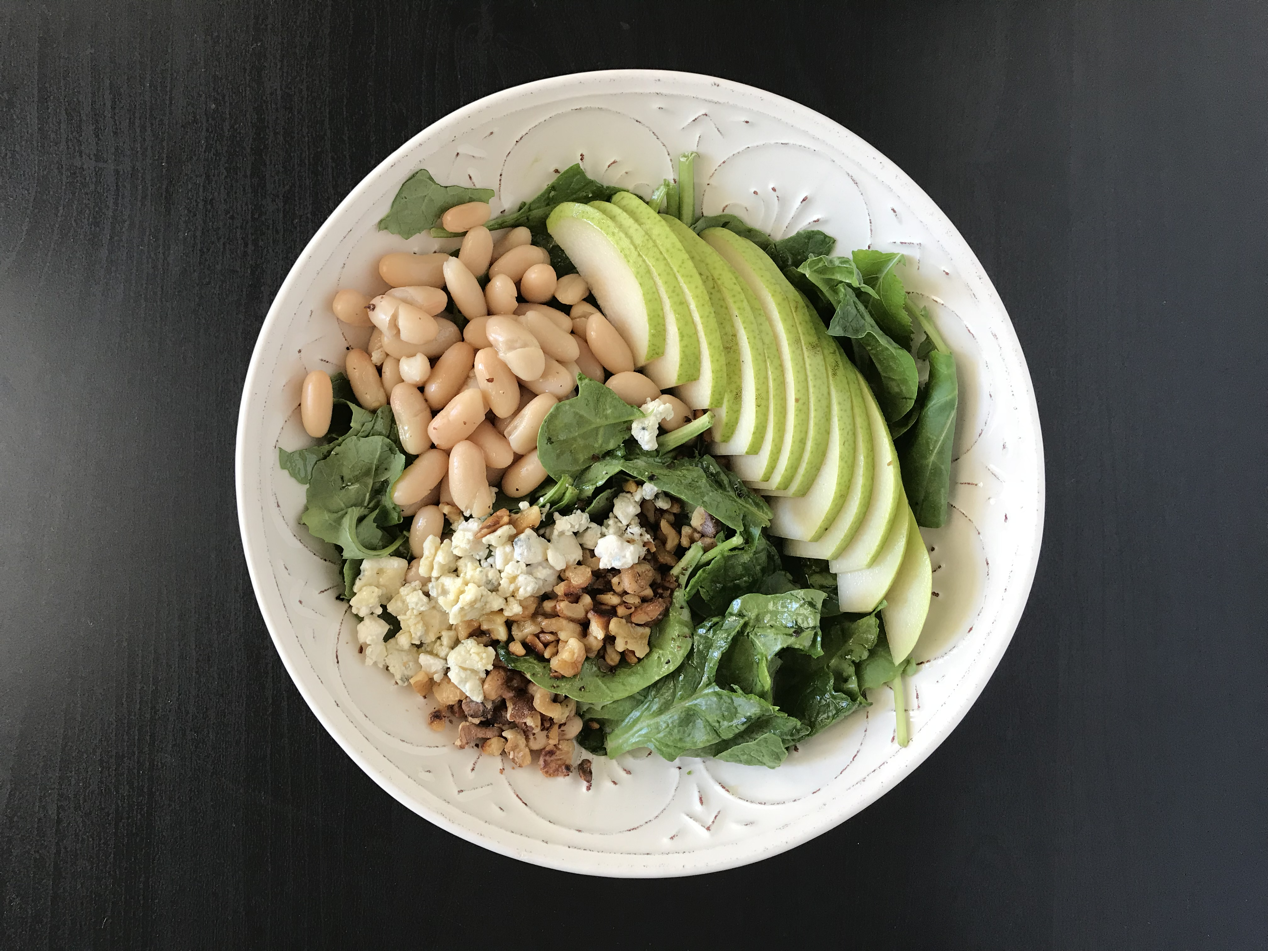 Mixed Greens Salad with Pear, Walnut, and Blue Cheese