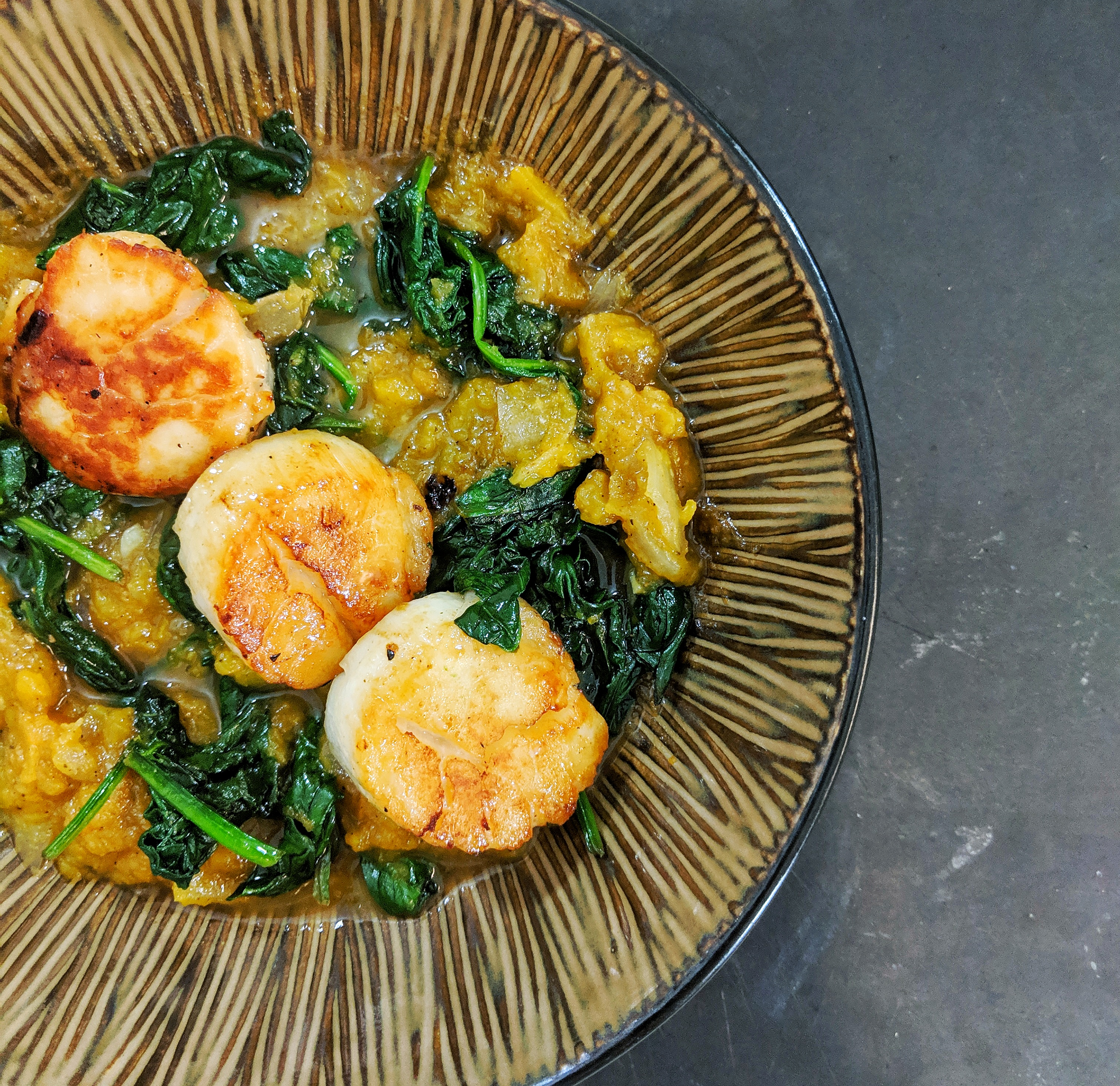 Sea Scallops with Butternut Squash & Spinach