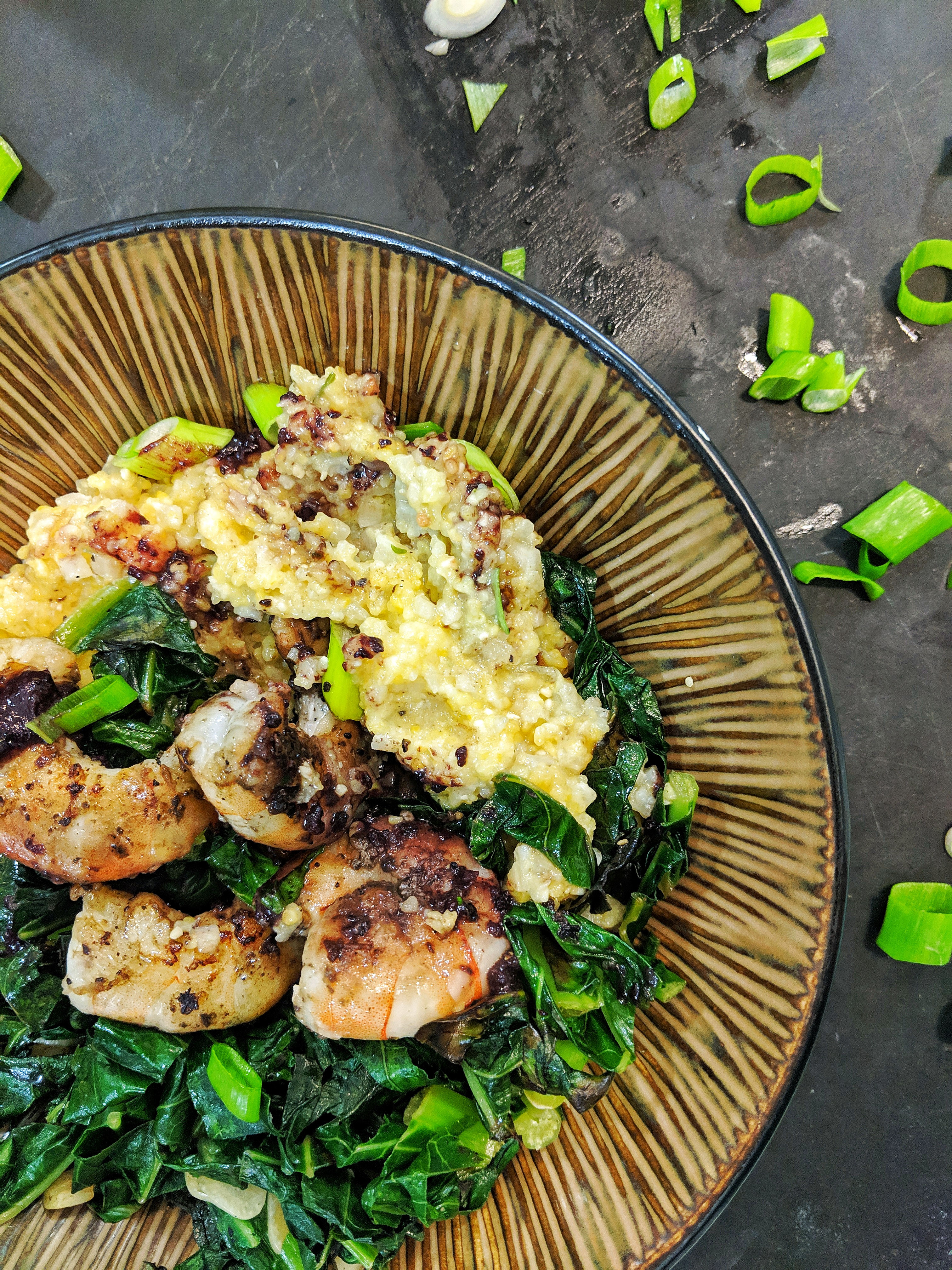 BBQ Shrimp & {Cauliflower} Grits with Greens