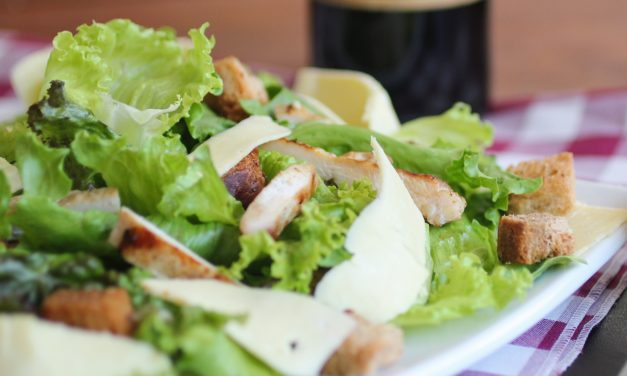 Caesar Salad with White Beans and Sweet Potato Fries